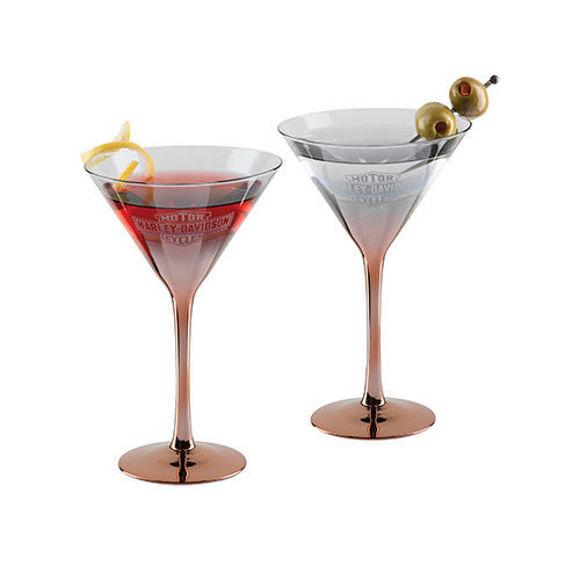 Picture of Copper Ombre Bar & Shield Martini Glass Set