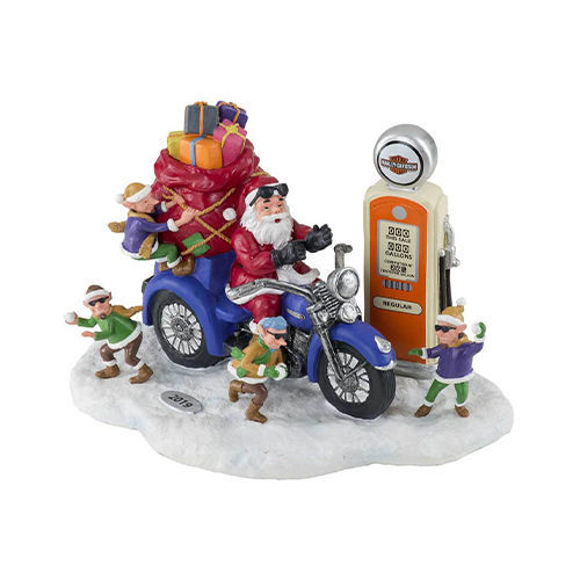 Picture of Custom Sculpted 2019 Biker Santa & Elves Figurine