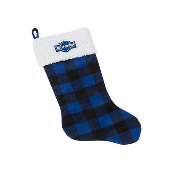 Picture of Winter Holiday Stocking - Blue Plaid with Satin Lining