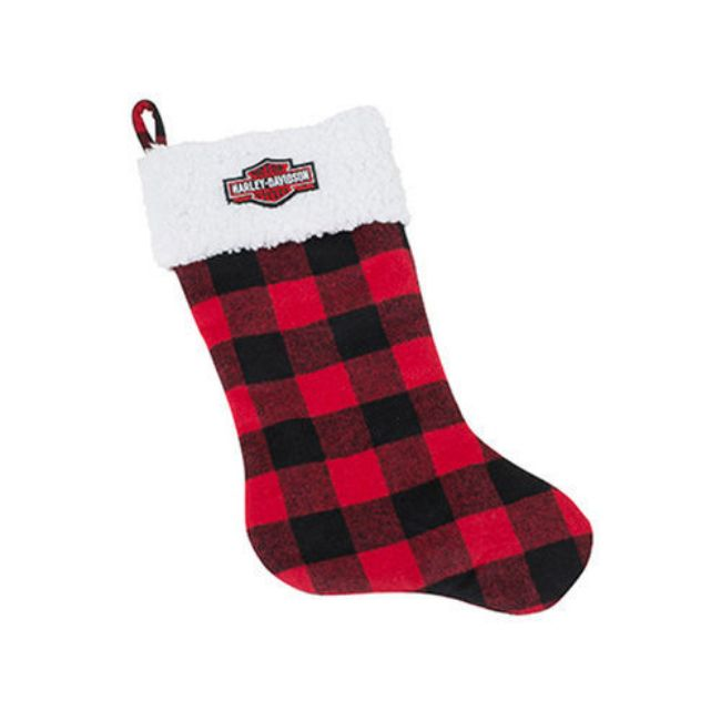 Picture of Winter Holiday Stocking - Red Plaid with Satin Lining