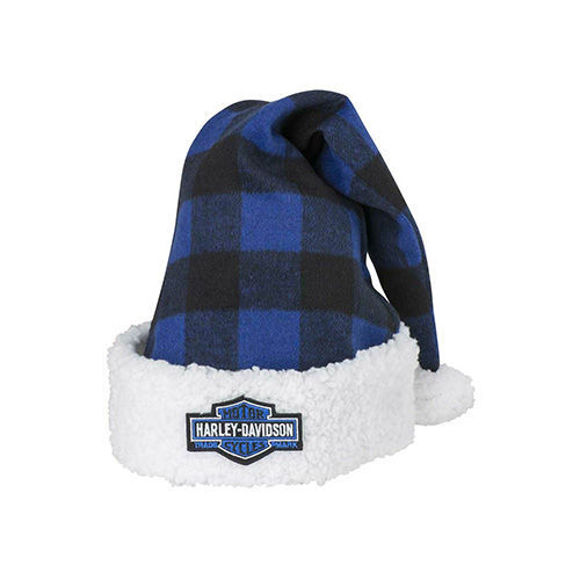 Picture of Winter Holiday Santa Hat - Blue Plaid with Satin Lining
