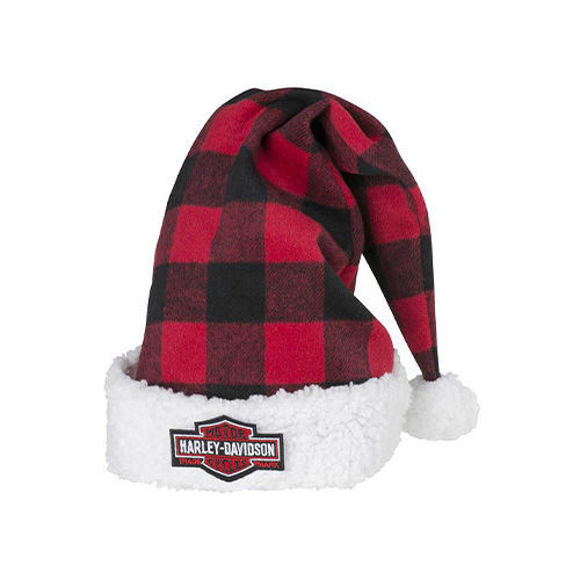 Picture of Winter Holiday Santa Hat - Red Plaid with Satin Lining