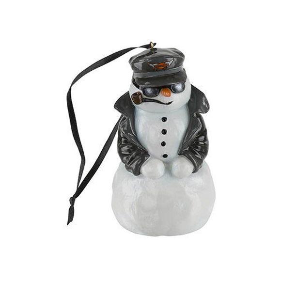 Picture of Custom Sculpted Biker Snowman LED Colour Ornament