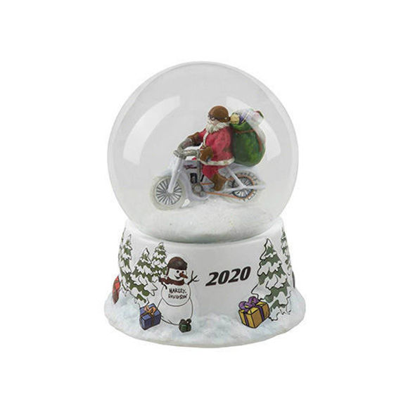 Picture of Winter 2020 Sculpted Biker Santa Glass Snow Globe