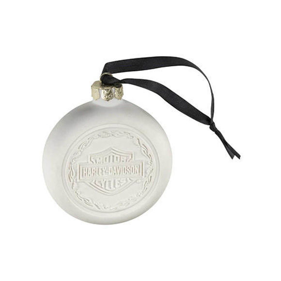 Picture of 2020 Bar & Shield Holly Flames Bisque Hanging Ornament
