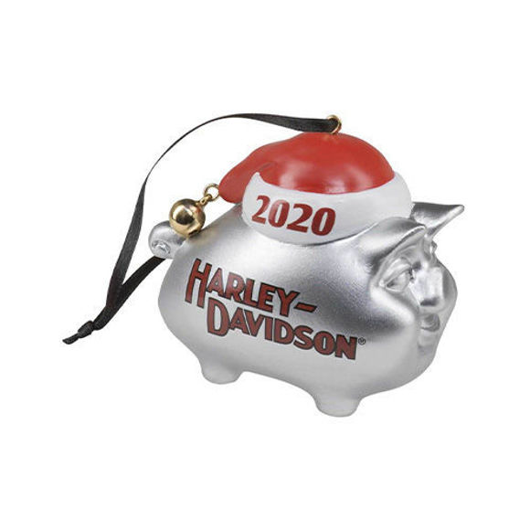 Picture of 2020 Hog with Santa Hat & Bell Hanging Ornament - Silver