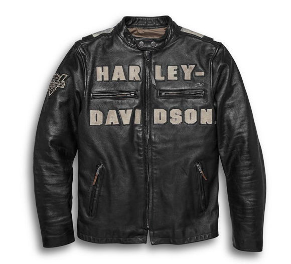 Picture of Men's Vintage Race Inspired Leather Jacket