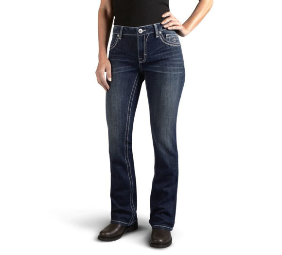 Picture of Women's Curvy Boot Cut Embellished Logo Mid-Rise Jeans