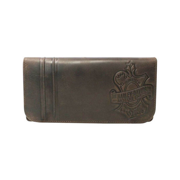 Picture of Women's Embossed Hunter Leather Bi-Fold Wallet