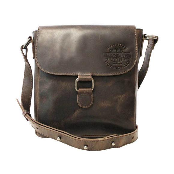 Picture of Men's Embossed Rocker Leather Messenger Bag