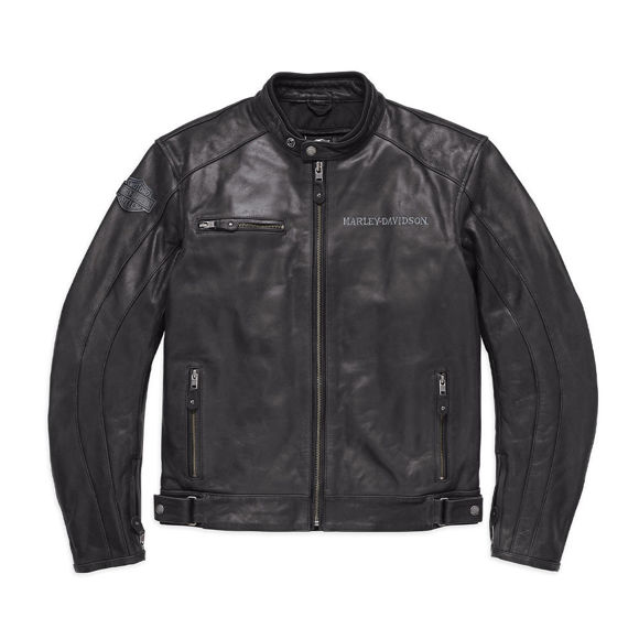 Picture of Men's Reflective Skull Leather Jacket