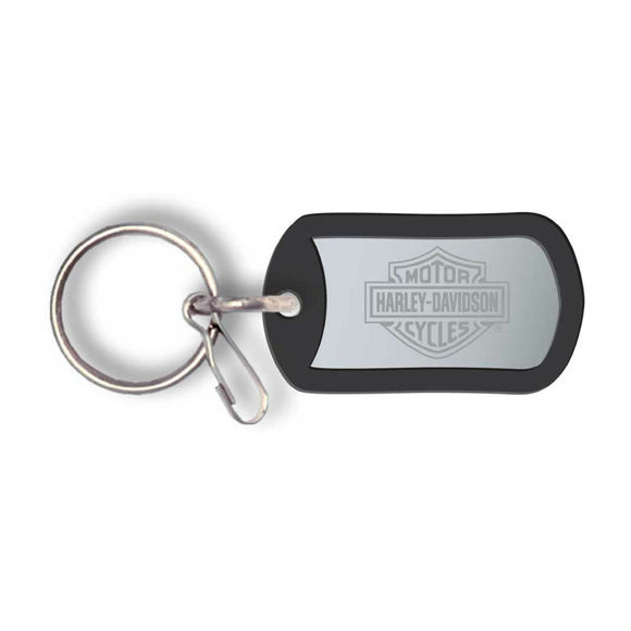 Picture of Bar & Shield Metal Rubber Tag Key Chain