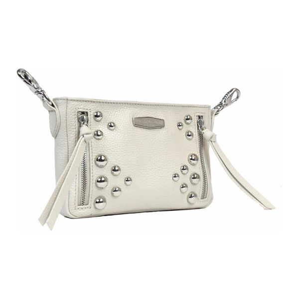 Picture of Women's Heavy Metal Studs Cream Leather Hip Bag