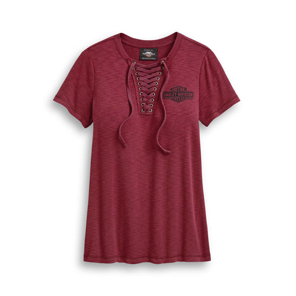 Picture of Women's Freedom Laced Neckline Short Sleeve Tee - Red