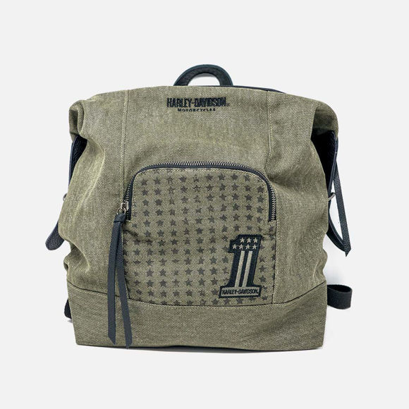 Picture of Women's Uno Distressed Olive Cotton Backpack
