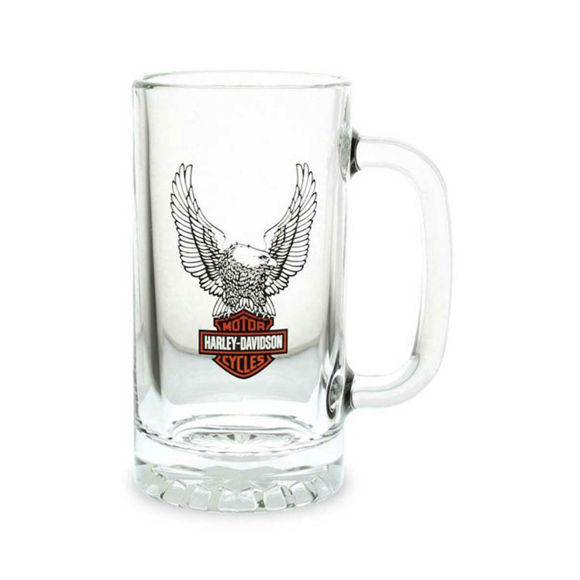 Picture of Upwing Eagle B&S Logo Clear Stein Glass