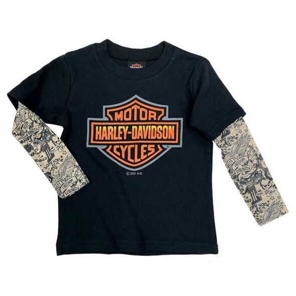 Picture of Little Boys' Bar & Shield Mesh Tattoo Long Sleeve Tee