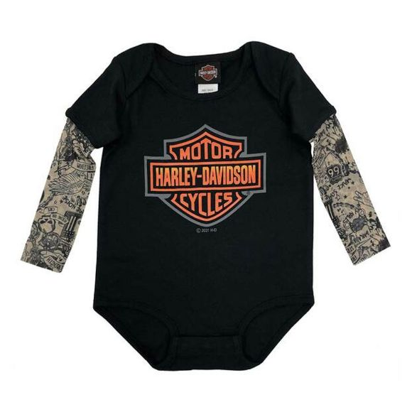 Picture of Baby Boys' Bar & Shield Mesh Tattoo Long Sleeve Creeper