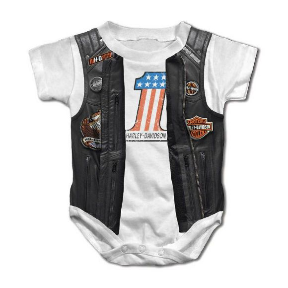 Picture of Baby Boys' Printed Faux Leather Vest Short Sleeve Creeper