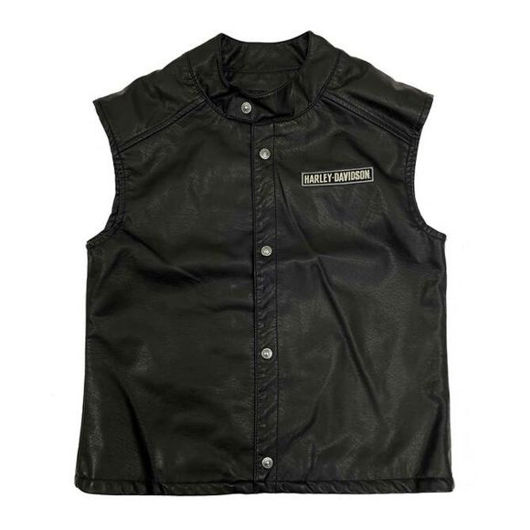 Picture of Boys' Embroidered Patches Snap Faux Leather Vest