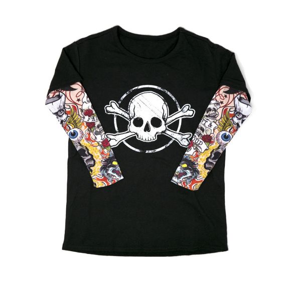 Picture of Little Boys' Skull Tee with Mesh Tattoo Sleeves