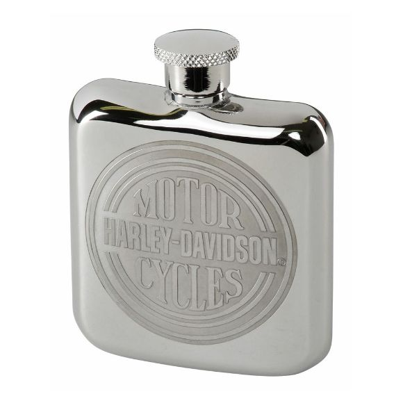 Picture of H-D Engraved Circle Stainless Steel Hip Flask