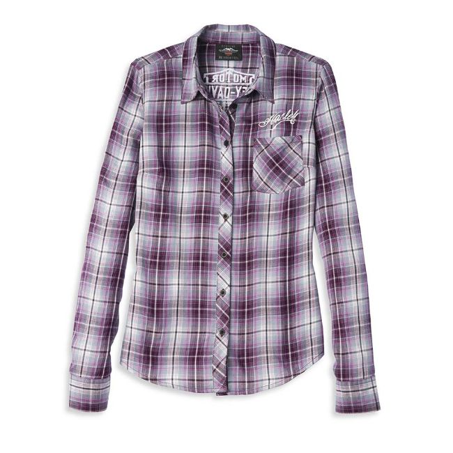 Picture of Women's Tattoo Font Plaid Shirt