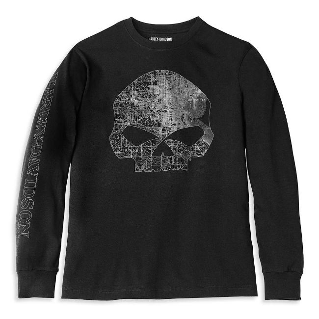 Picture of Men's Milwaukee Map Skull Long Sleeve Graphic Tee - Black Beauty